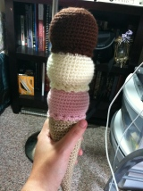 3 Scoop Ice Cream Cone Crochet Pattern